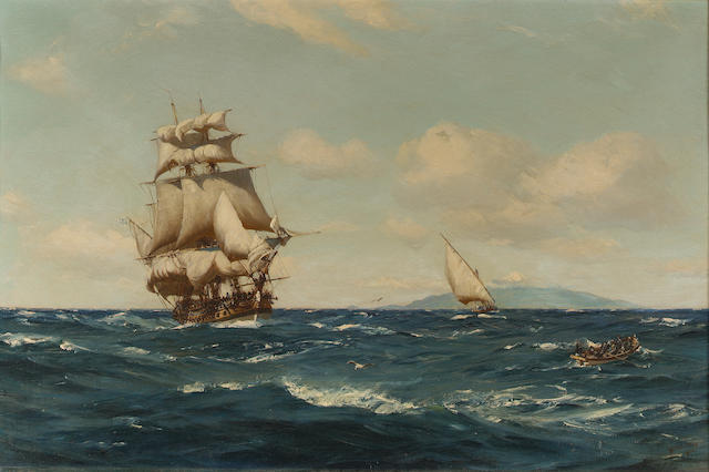 Thomas Jacques Somerscales (British, 1842-1927)  'Frigate (latter end of 18th. Century) recovering h