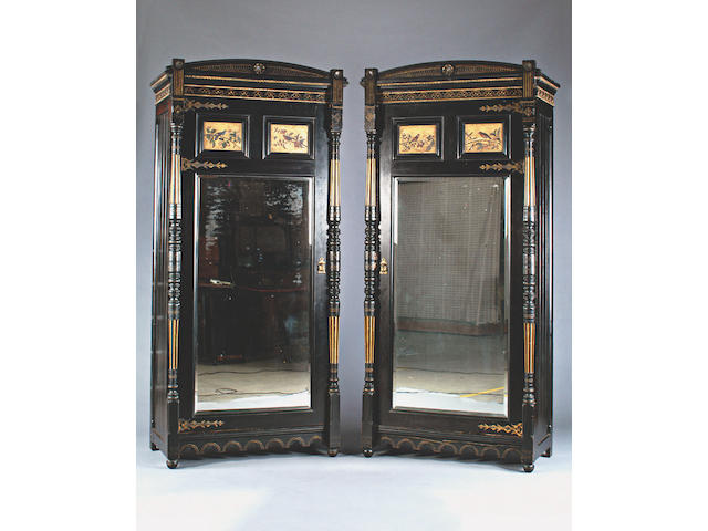 A late Victorian ebonised Aesthetic movement bedroom suite,