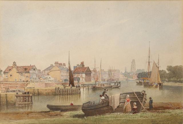 John Wilson Carmichael (British, 1799-1868) 'Boston, Lincolnshire' 33.7 x 49.2cm. (13 1/4 x 19 3/8 in.)