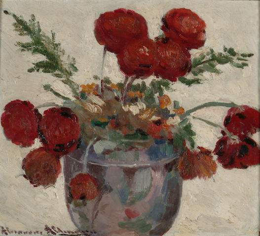 Alexandre Altmann (Russian, 1885-1950) Still life of red flowers 25 x 28cm.