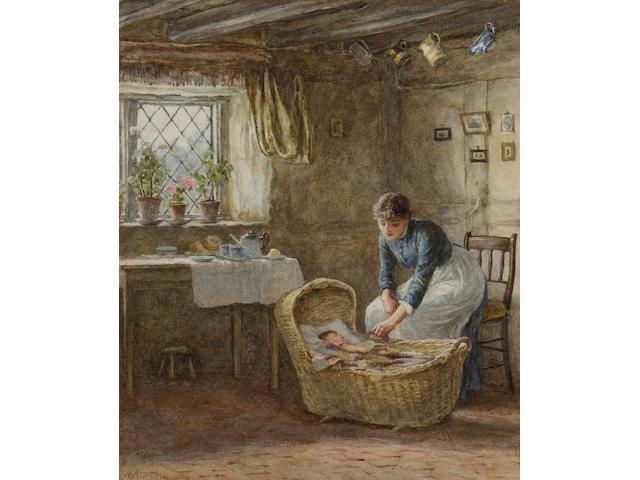 Helen Allingham R.W.S. (British, 1848-1926) The Cradle 23 x 19 cm. (9 x 7 1/2 in.)