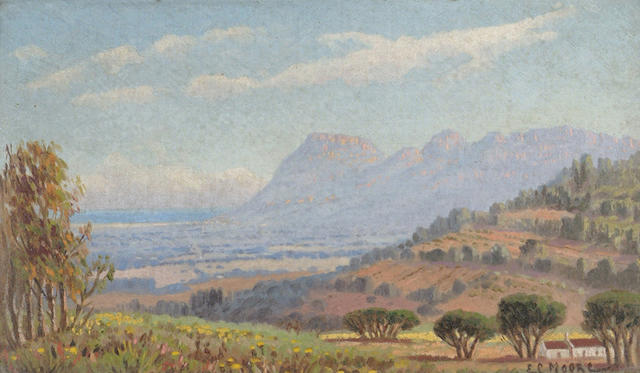 Edward Charles Moore (South African, 1883-1946_ View of Constantia 17 x 29cm.