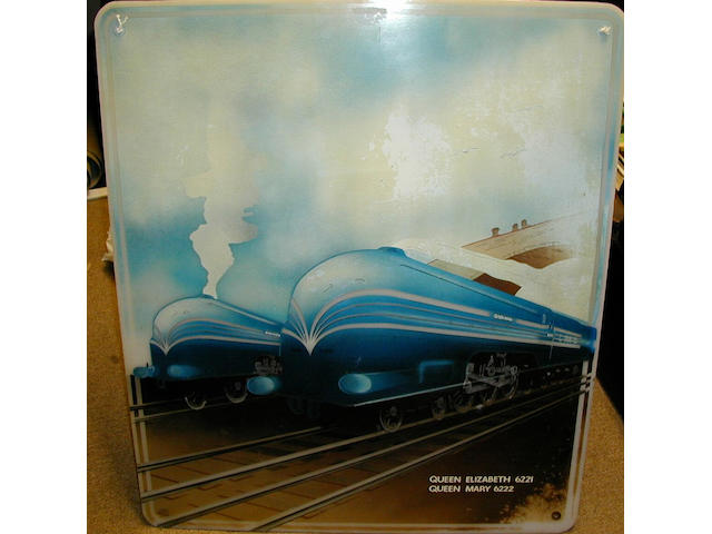 An art deco style painting on semi-opaque perspex