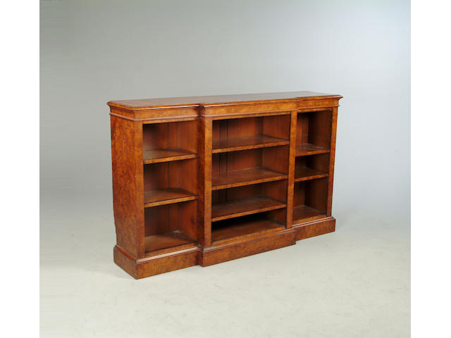 A Victorian figured walnut breakfront dwarf bookcase