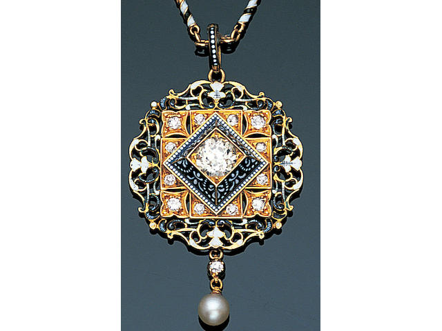 A late 19th century enamel and diamond pendant, by Carlo and Arthur Giuliano,