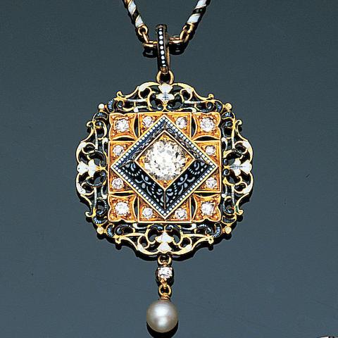A late 19th century enamel and diamond pendant by Carlo and Arthur Giuliano