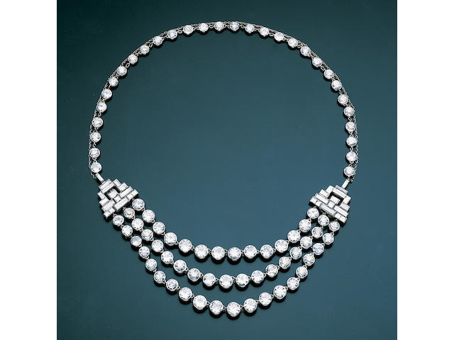 An art deco diamond three-row festoon necklace,