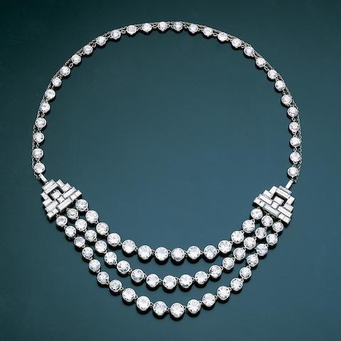 An art deco diamond three-row festoon necklace