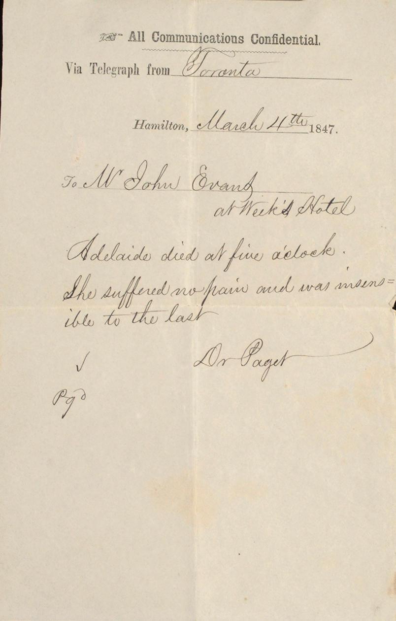 Toronto, Hamilton, Niagara and St. Catherine's Electro Magnetic Telegraph Co. 3 telegrams, 1847