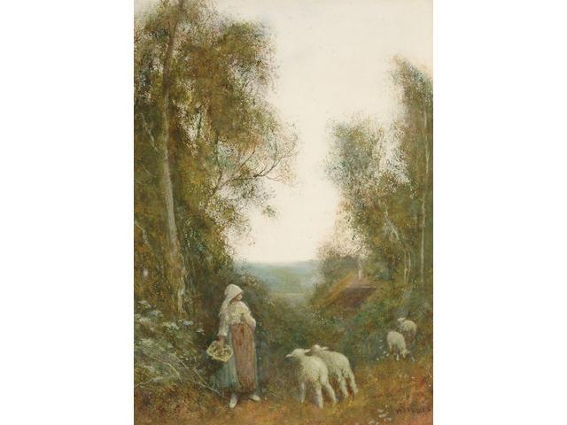 Frederick Hines (British, circa 1900) Lambs on a rural path, 36 x 26 cm.