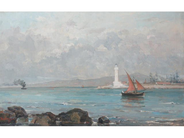 Pericles Pantazis (Greek 1849/50-1884) Le Phare de Marseille 72 x 112.5 cm. (28 3/8 x 44 1/4 in.)