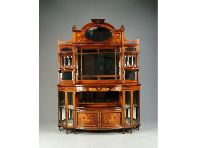 A late Victorian rosewood, satinwood banded and marquetry inlaid cabinet