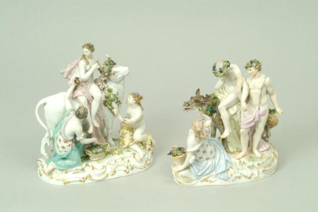 A pair of Meissen figure groups
