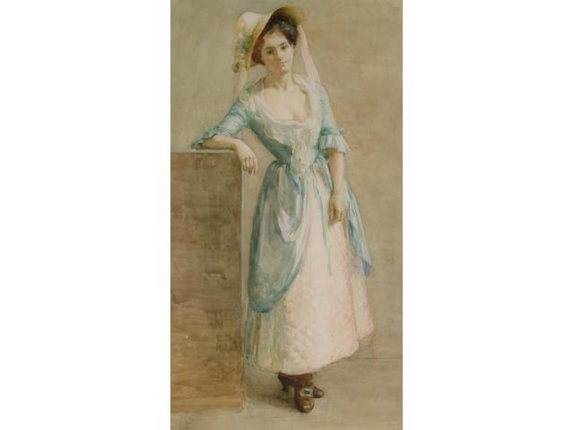 Jane S.Blaikley (British, exh.1908-1910) Portrait of a lady in a bonnet, 69 x 38.5 cm.