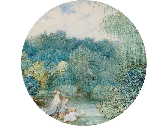 English School (19th Century), Playing by a pond; Feeding the swans, 25 x 25 cm, tondo, (2).