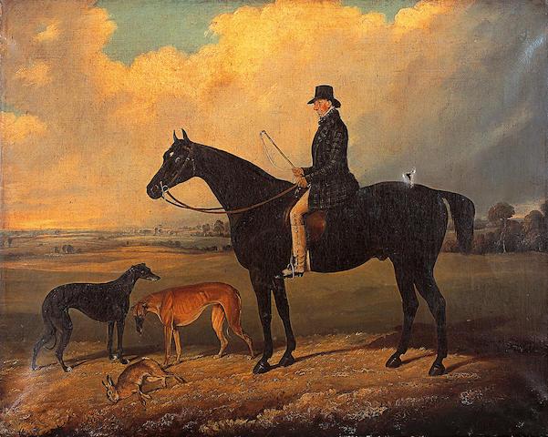 Edwin M. Fox (Op. 1830-1870) British Portrait of a gentleman on a dark bay hunter after a day's coursingsigned and dated 'E.M. Fox 1847', signed and dated verso and inscribed 'Ann Butler', oil on canvas, 60 x 76cm (23½ x 30in) (Unframed)