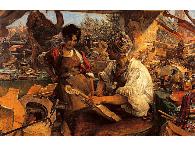 Edgar Bundy ARA, RI, ROI, RBA (1862-1922) British 'Stradvarius, the Violin Maker'signed and dated ' Edgar Bundy 1913', titled on frame, oil on canvas, 51 x 76cm (20 x 30in)