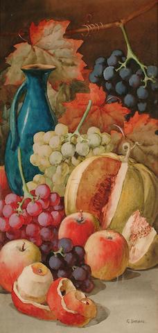 Giovanni Barbaro (British, fl.1890-1907) Still lifes of fruit, 72 x 34.5 cm, (2).