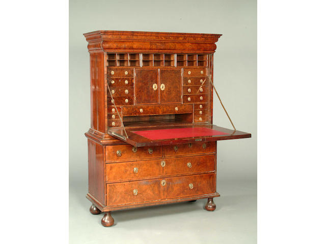 A Queen Anne crossbanded walnut secretaire chest,