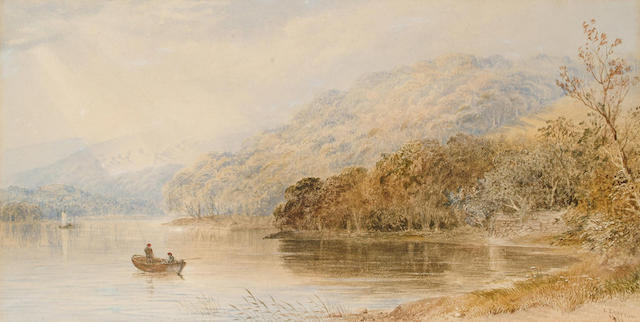 Cornelius Pearson (British, 1805-1891) On the river Torridge, near Bideford, Devon, 21 x 41 cm.