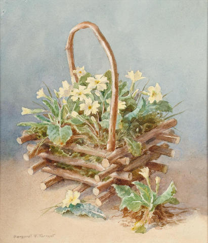 Margaret W.Tarrant (British, 1888-1959) A basket of flowers, 10 x 8 5/8 in (25.5 x 22 cm).