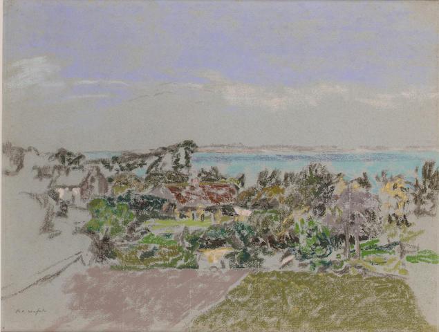 Ker Xavier Roussel (1867-1944) Paysage au bord de la mer 39.5 x 52.5 cm. (15 1/2 x 20 5/8 in.)