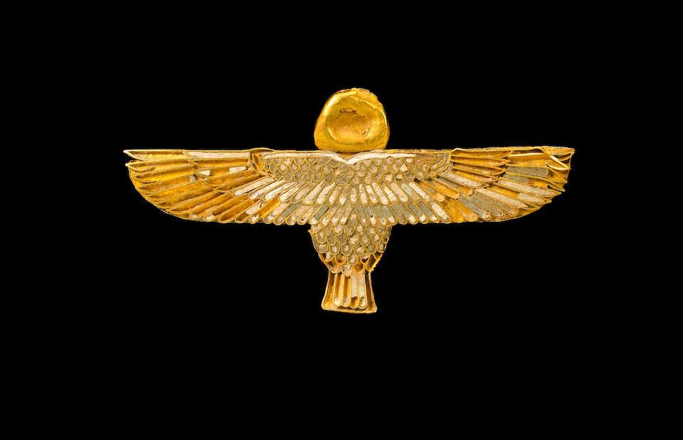 An Egyptian gold and cloissoné ba-bird amulet