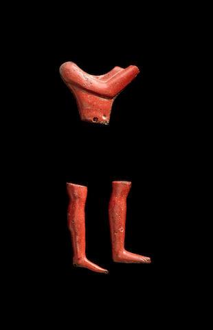 Three Egyptian jasper-red glass inlays 3