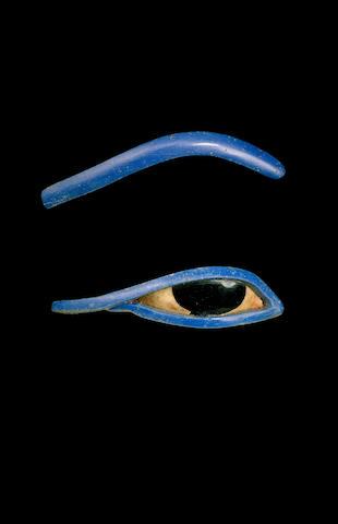 An Egyptian glass and shell obsidian eye and eyebrow  inlay