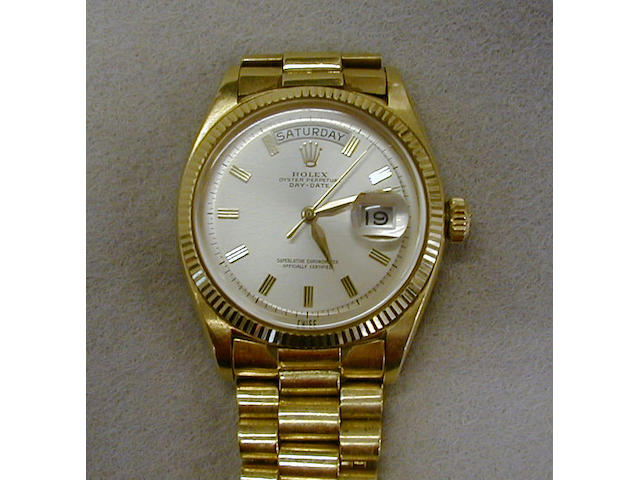 Rolex. An 18ct gold automatic calendar wristwatchRef:1803, 1970s