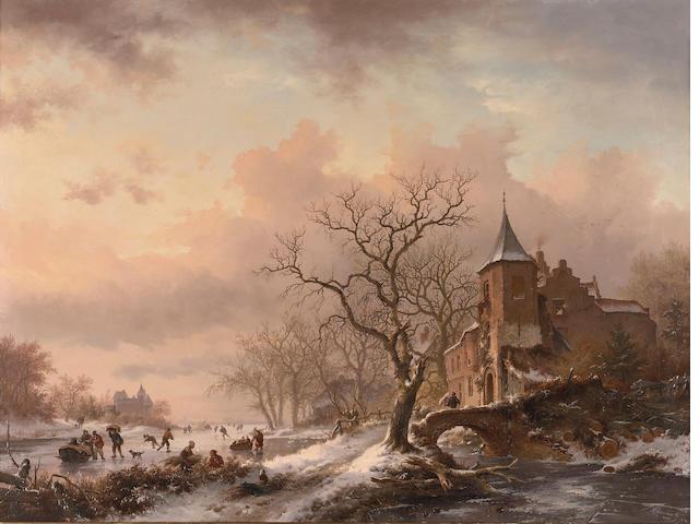 F M Kruseman, Winter Landscape, oil on panel
