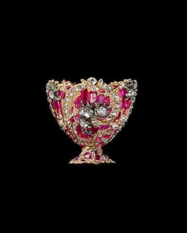 An impressive diamond and ruby-set gold Coffee Cup Holder (zarf) made for the Ottoman court