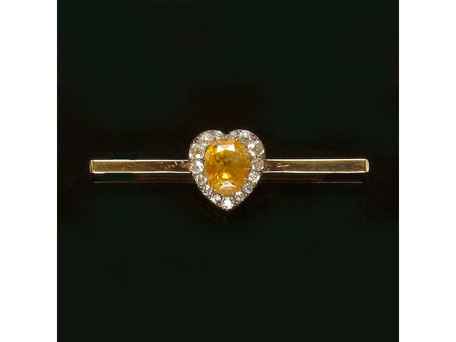 A late Victorian yellow sapphire and diamond bar brooch