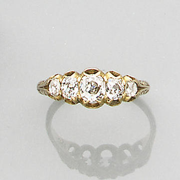 A Victorian 18ct gold diamond five stone ring