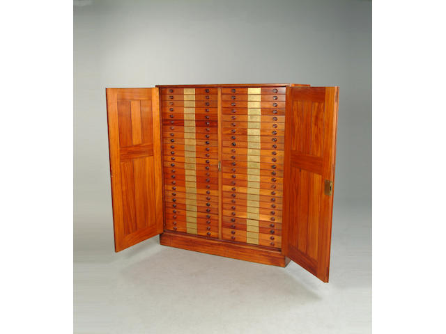 An early 20th century mahogany museum collectors cabinet