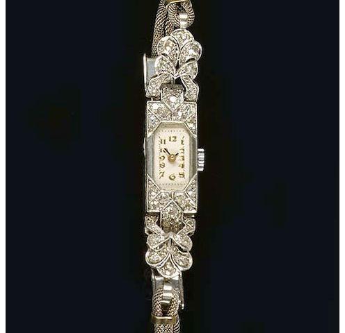 An Art Deco diamond cocktail watch