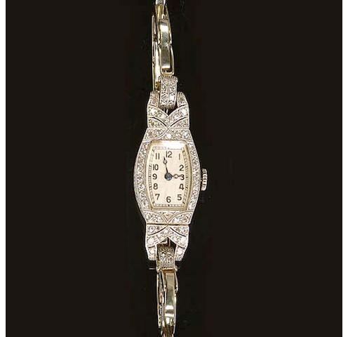 An Art Deco diamond cocktail wristwatch