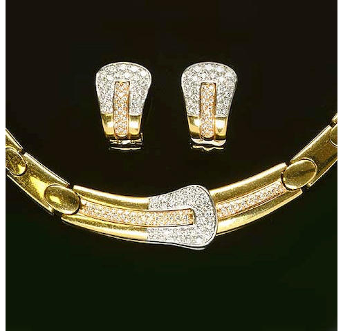 An 18 carat yellow gold diamond-set necklace, earring and ring suite by Boodle and Dunthorne (3)
