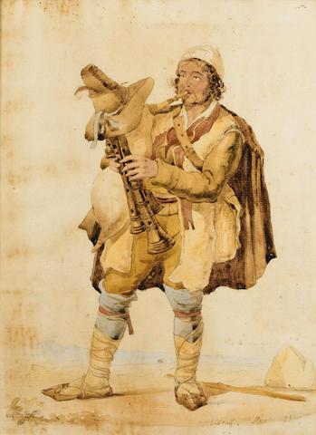 Arthur John Strutt (British, 1819-1888) Il Zampognaro; An Italian peasant, 13 x 9 1/2 in (33 x 24 cm), (2).