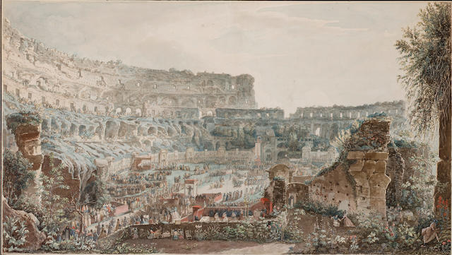 Louis-Jean Desprez (1743-1804) Capriccio view of the Colosseum, Rome, with pilgrims gathering before altars sheet size:575 x965mm; image size:498 x894mm