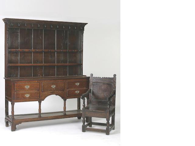 An early 19th Century oak high dresser,