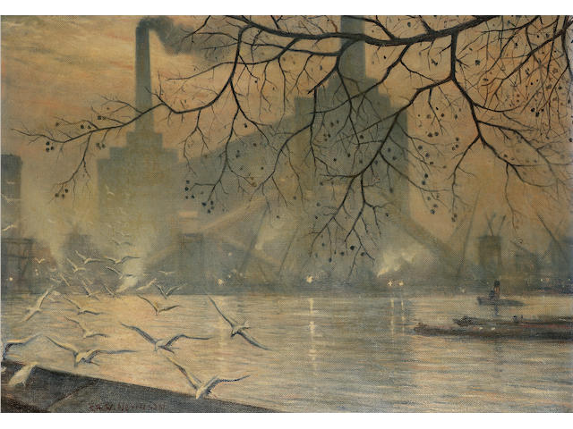 Christopher Richard Wynne Nevinson A.R.A. (1889-1946) The old Battersea power station 51 x 71.5 cm.