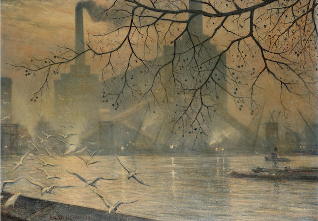 Christopher Richard Wynne Nevinson A.R.A. (1889-1946) The old Battersea power station 51 x 71.5 cm. (20 x 28 1/8 in.)