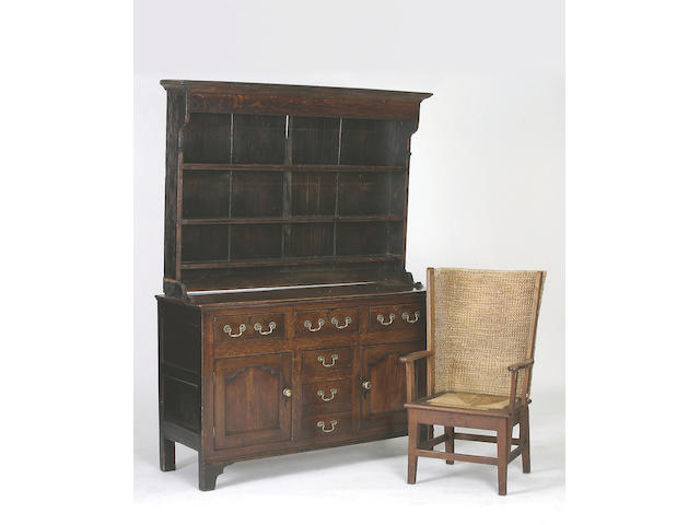 A late 18th Century oak high dresser,