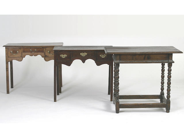 A late 18th Century oak lowboy,