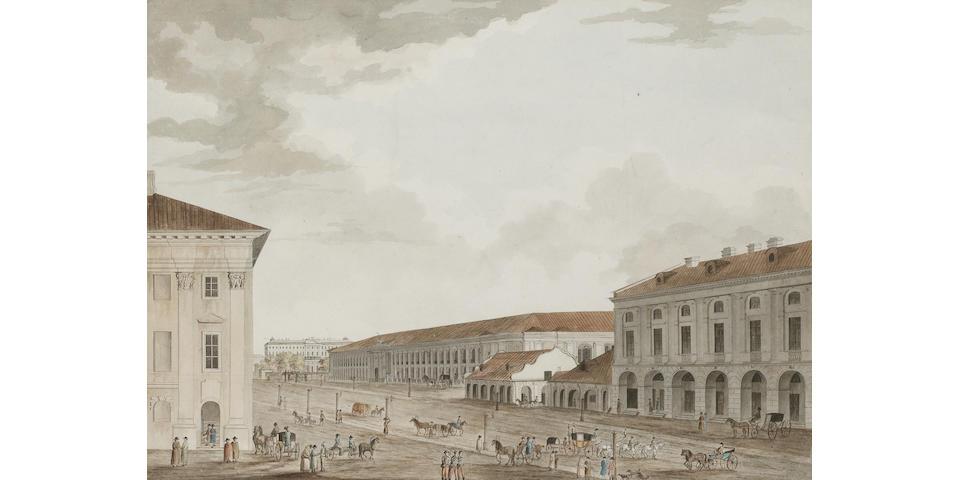 Joseph Hearn (British, fl. c. 1790) Gostinoy Dvor, ou les Boutiques public la Perspective de Nevsky à St. Petersburg 45.1 x 59 cm. (17 3/4 x 23 1/4 in.)