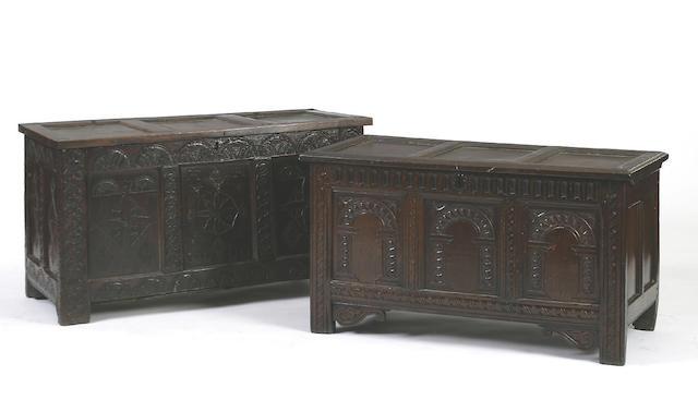 A mid 17th Century oak coffer,
