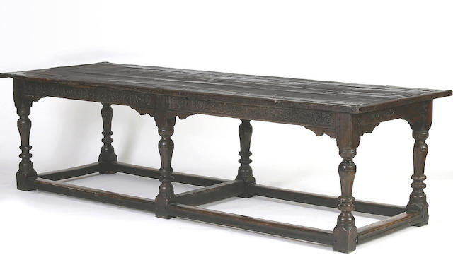 A mid 17th Century and later oak refectory table,