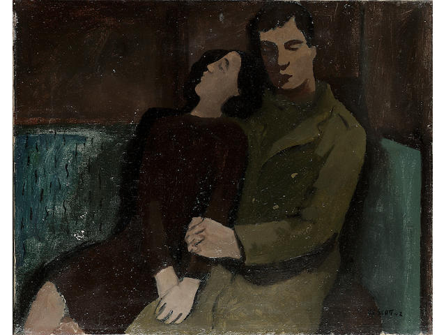 William Scott R.A. (1913-1989) Soldier and Girl Sleeping 41 x 51 cm.(16 1/8 x 20 1/8in.)