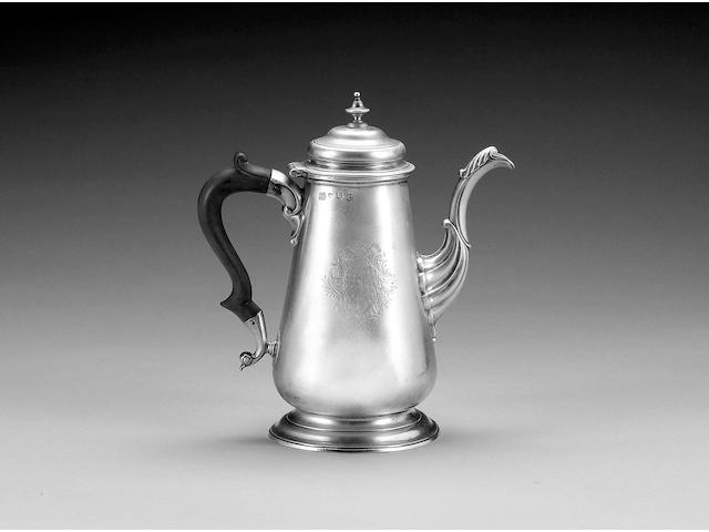 A George II silver coffee pot, by Richard Bayley, London 1740, cover unmarked,